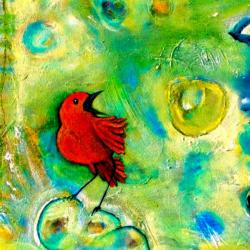 Tangerine Bird painting by Ritama Haaga